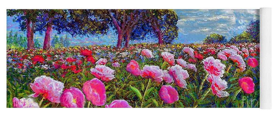 Sun Yoga Mat featuring the painting Peony Heaven by Jane Small