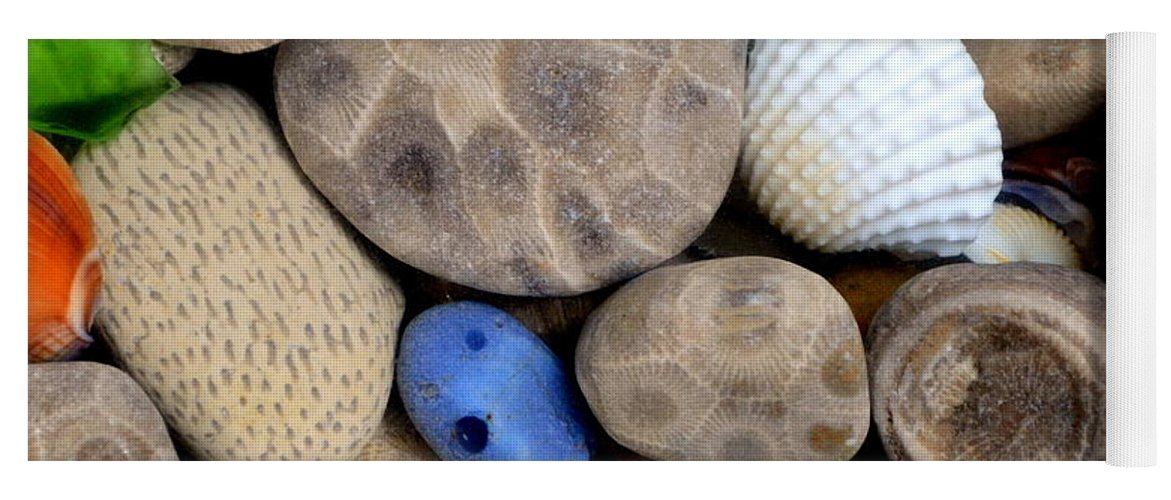Square Yoga Mat featuring the photograph Petoskey Stones V by Michelle Calkins