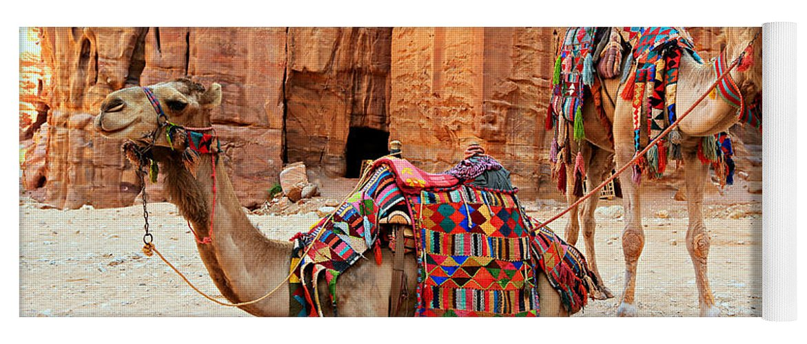 Ancient Yoga Mat featuring the photograph Petra Camels by Stephen Stookey
