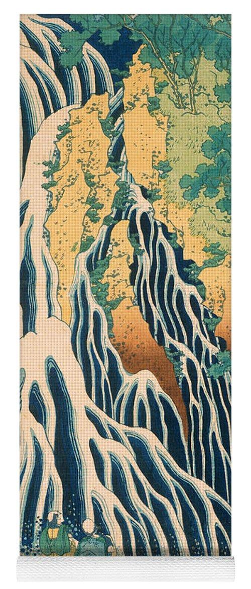 Pilgrims Kirifuri Waterfall Mount Kurokami Canvas Art Print Katsushika Hokusai
