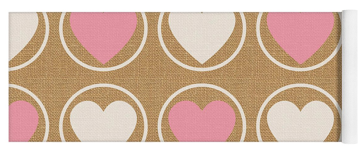 Hearts Yoga Mat featuring the mixed media Pink And White Hearts by Linda Woods