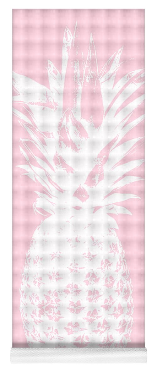 Pineapple Yoga Mat featuring the mixed media Pink And White Pineapple by Linda Woods