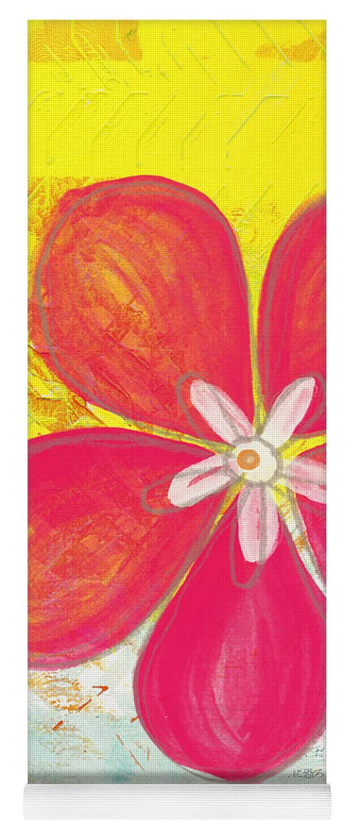 Flower Yoga Mat featuring the painting Pink Cherry Blossom by Linda Woods