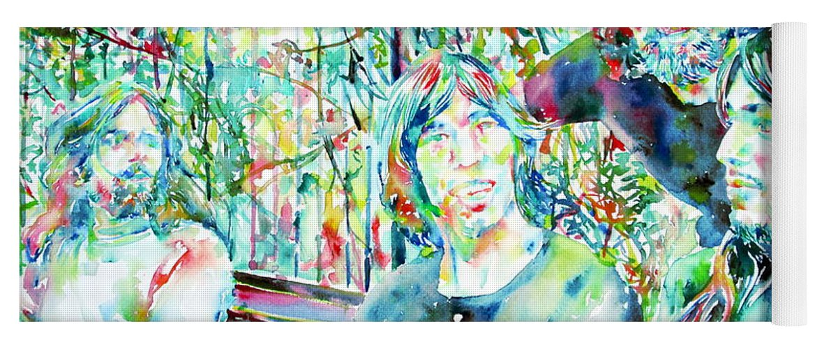 Pink Yoga Mat featuring the painting Pink Floyd At The Park Watercolor Portrait by Fabrizio Cassetta