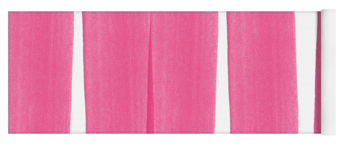 Spring Yoga Mat featuring the painting Pink Ribbons- Colorful abstract watercolor painting by Linda Woods