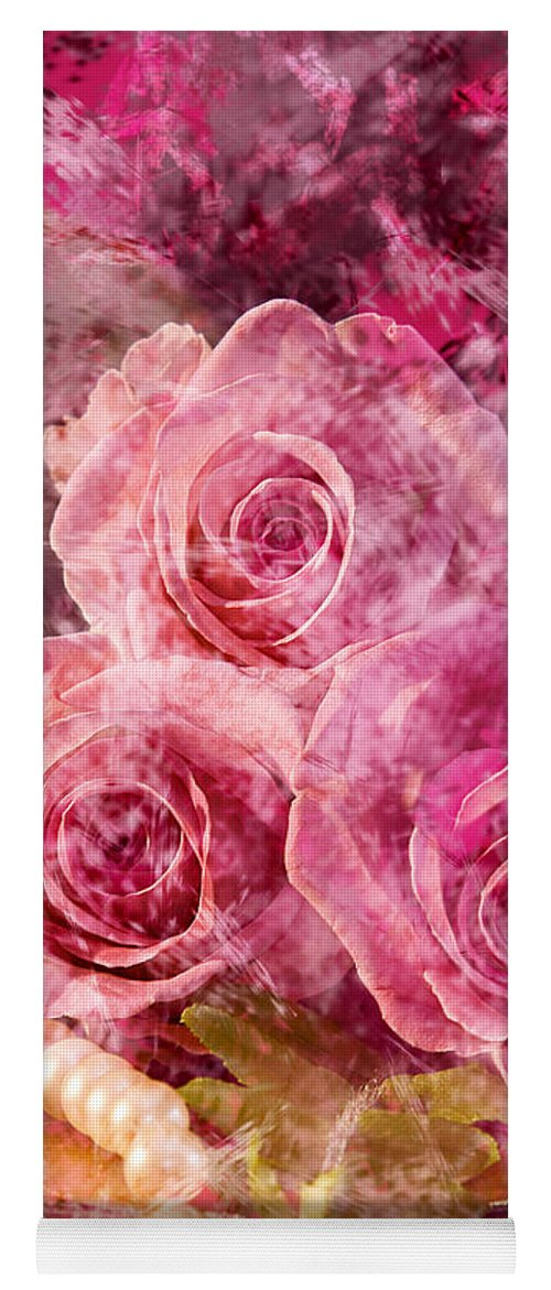 Roses Yoga Mat featuring the photograph Pink Roses And Pearls by Phyllis Denton