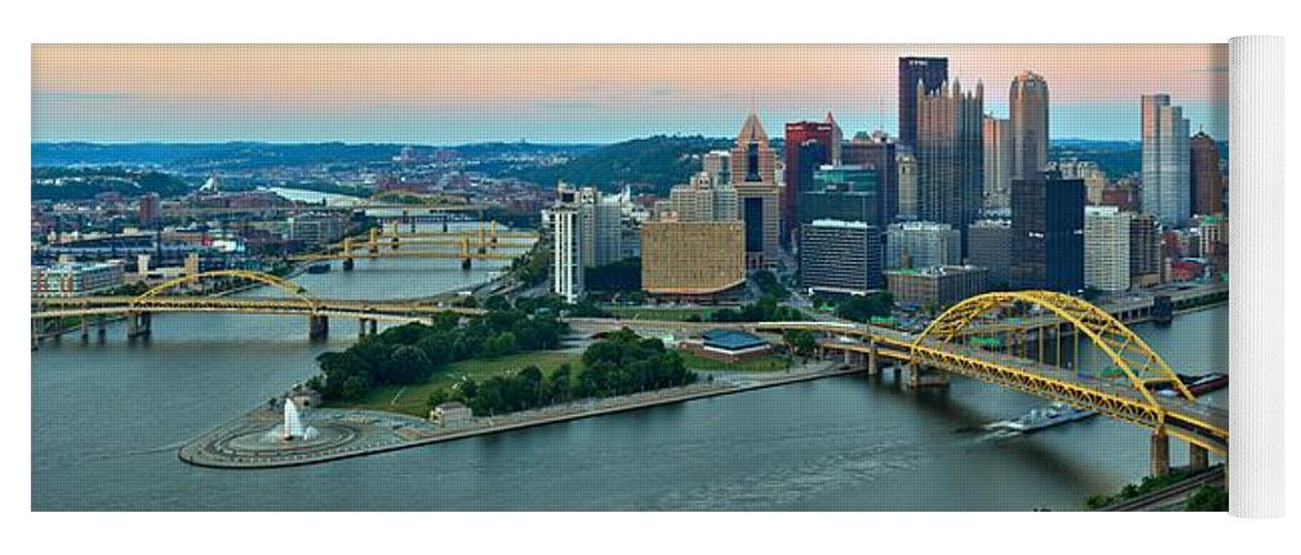 Pittsburgh Skyline Yoga Mat featuring the photograph Pittsburgh Panorama At Dusk by Adam Jewell