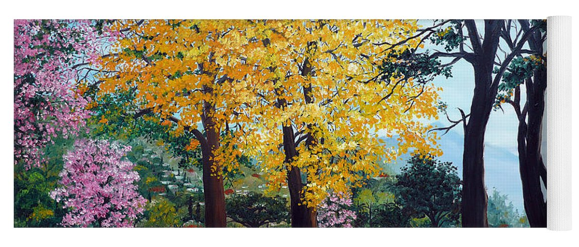 Tree Painting Landscape Painting Caribbean Painting Poui Tree Yellow Blossoms Trinidad Queens Park Savannah Port Of Spain Trinidad And Tobago Painting Savannah Tropical Painting Yoga Mat featuring the painting Poui Trees in the Savannah by Karin Dawn Kelshall- Best