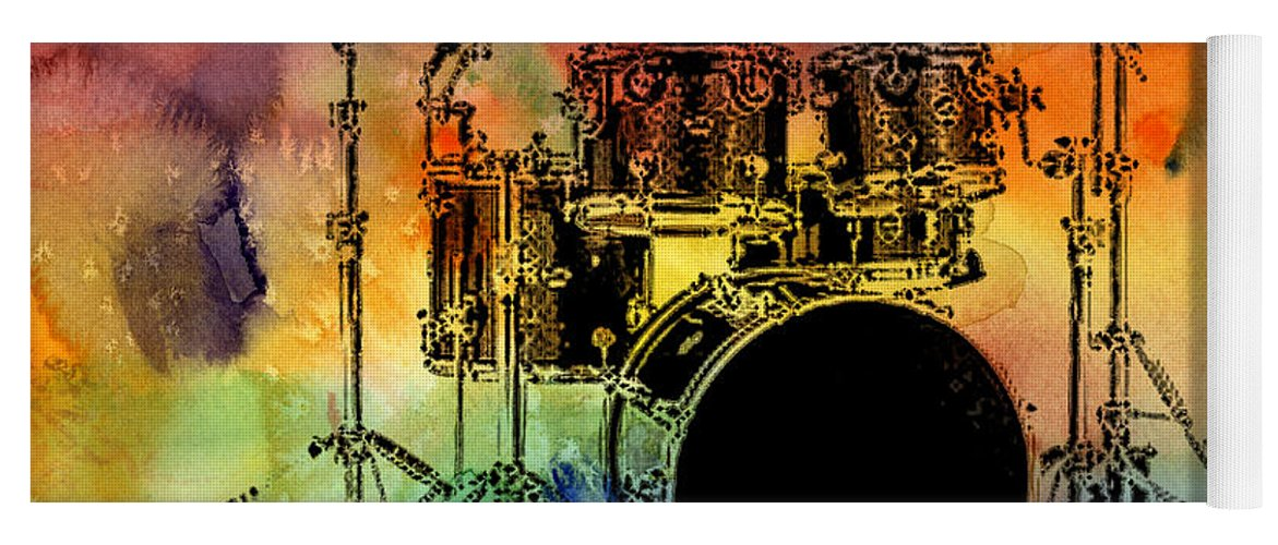 Drums Yoga Mat featuring the photograph Psychedelic Drum Set by Athena Mckinzie