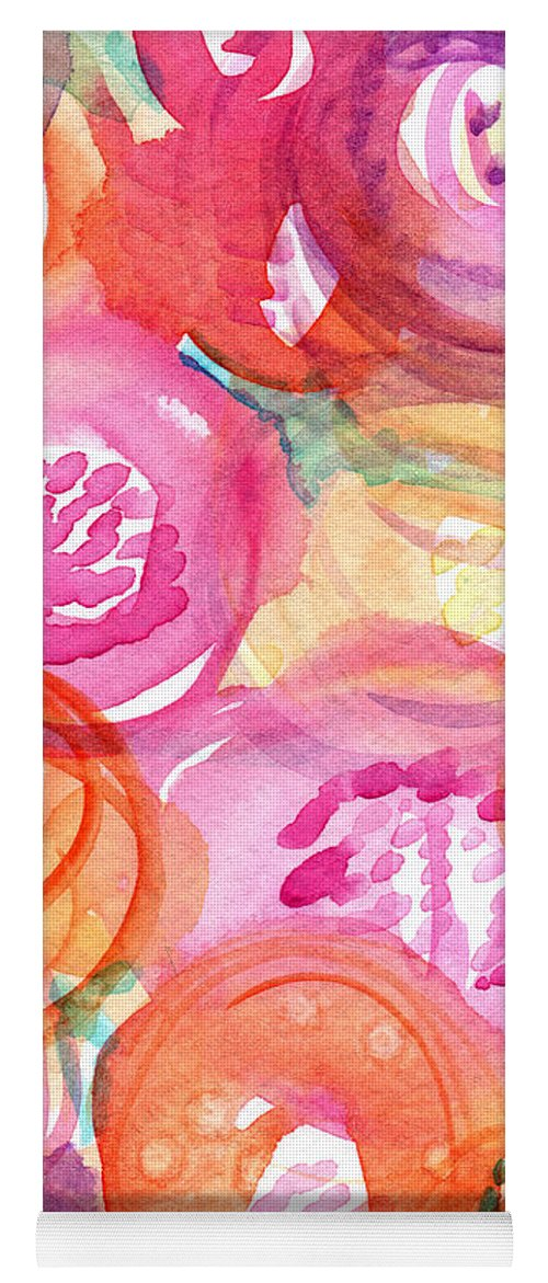 Flowers Yoga Mat featuring the painting Purple And Orange Flowers by Linda Woods