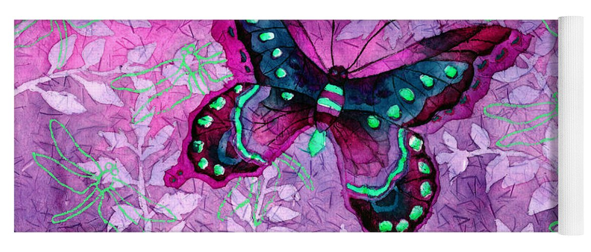 Butterfly Yoga Mat featuring the painting Purple Butterfly by Hailey E Herrera