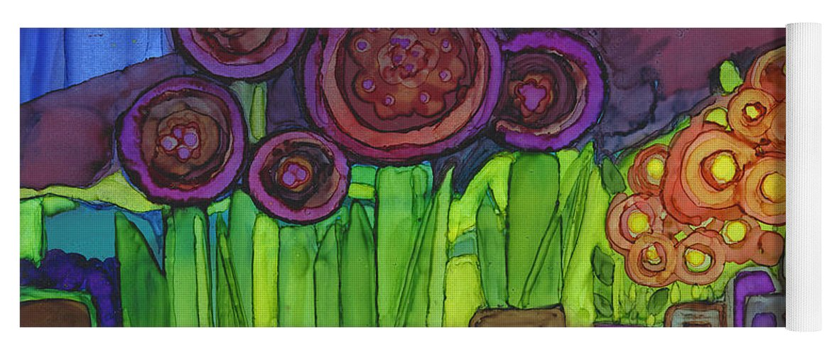 Abstract Yoga Mat featuring the painting Purple Hills by Vicki Baun Barry