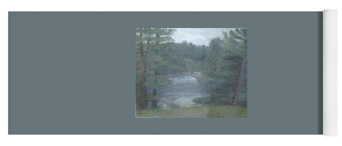Rainy Yoga Mat featuring the painting Rainy Day Plein Aire by Sheila Mashaw
