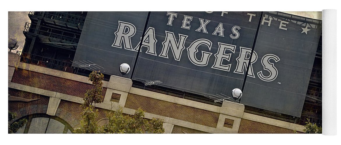 Joan Carroll Yoga Mat featuring the photograph Rangers Ballpark In Arlington Color by Joan Carroll