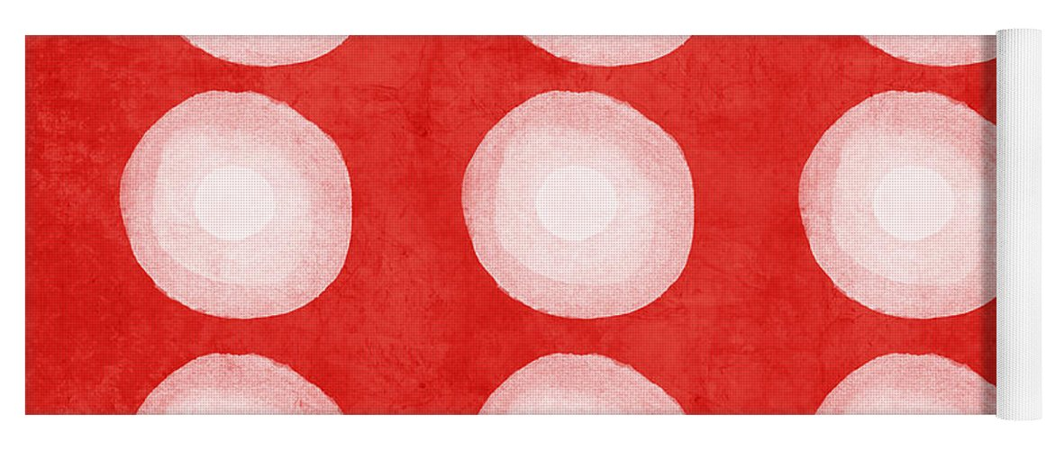 Shibori Yoga Mat featuring the painting Red and White Shibori Circles by Linda Woods