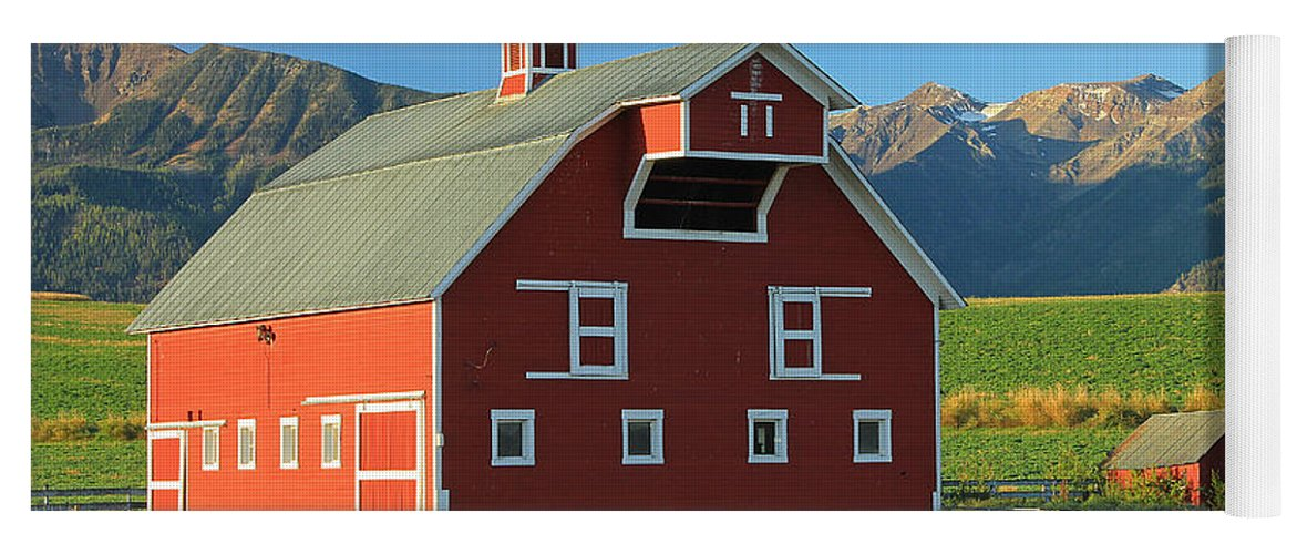 Fall Colors Yoga Mat featuring the photograph Dn5939-red Barn In The Wallowas by Ed Cooper Photography