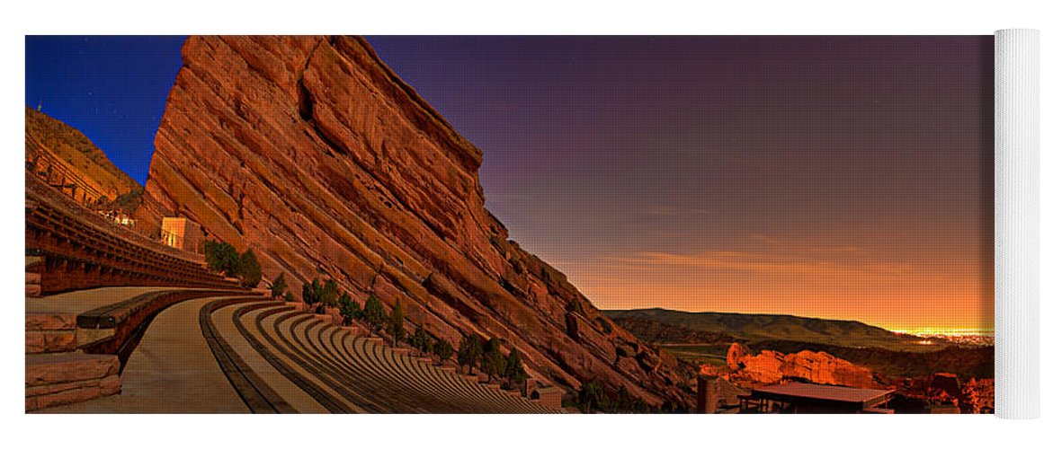 Night Yoga Mat featuring the photograph Red Rocks Amphitheatre at Night by James O Thompson