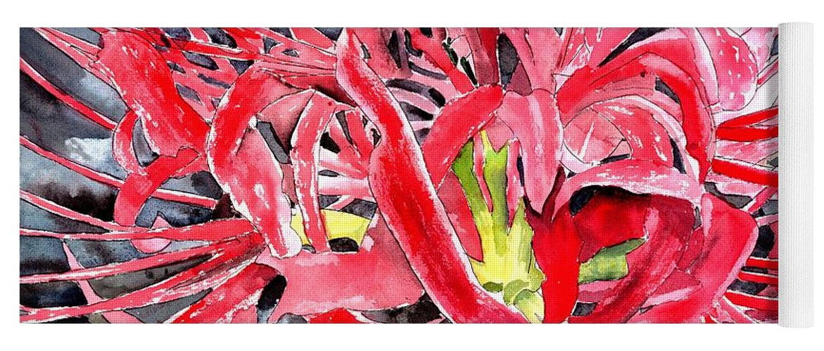 Watercolor Yoga Mat featuring the painting Red Spider Lily Flower Painting by Derek Mccrea