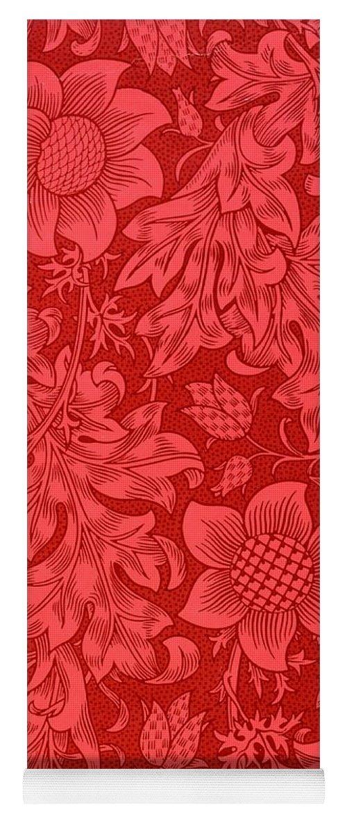 Red Sunflower Wallpaper Design, 1879 Yoga Mat