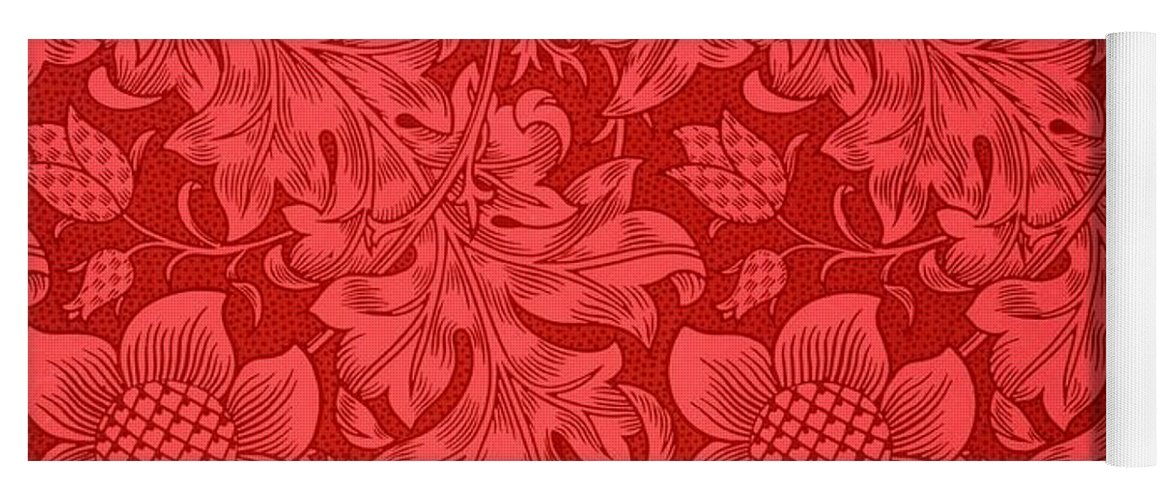 Red Sunflower Yoga Mat featuring the drawing Red Sunflower Wallpaper Design, 1879 by William Morris