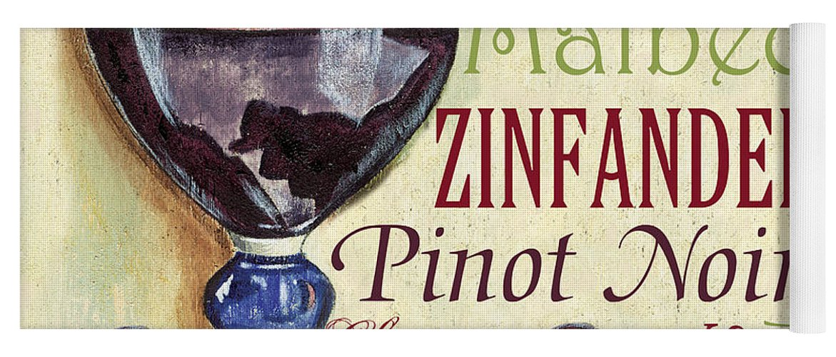 Wine Yoga Mat featuring the painting Red Wine Text by Debbie DeWitt