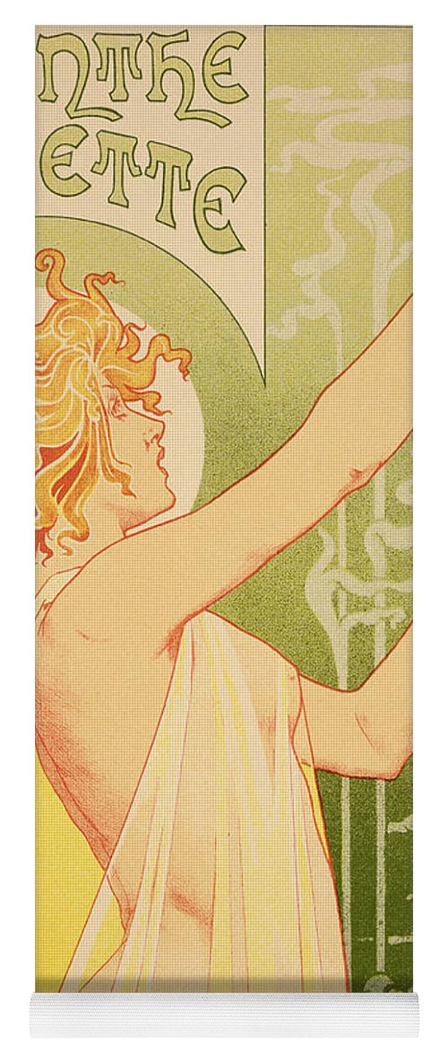 Advert; Advertisement; Alcohol; Liqueur; Alcoholic Drink; Beverage; Art Nouveau; Female; Holding Up A Glass Yoga Mat featuring the painting Reproduction Of A Poster Advertising 'robette Absinthe' by Livemont