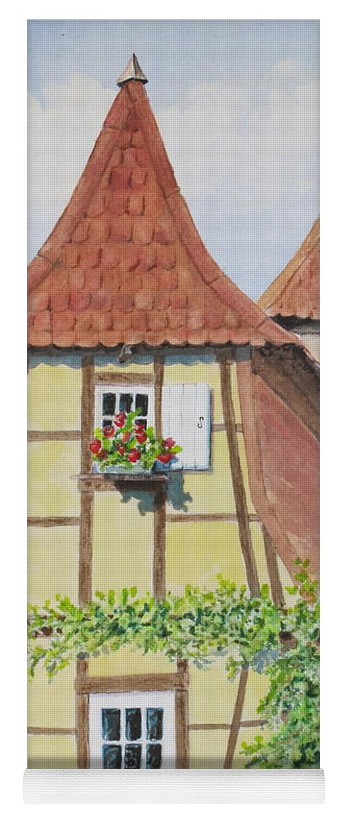 Europe Yoga Mat featuring the painting Ribeauville Village in Alsace by Mary Ellen Mueller Legault