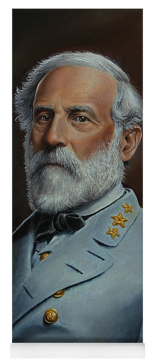 Portrait Yoga Mat featuring the painting Robert E. Lee by Glenn Beasley