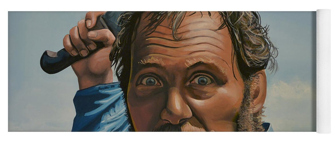 Robert Shaw Yoga Mat featuring the painting Robert Shaw In Jaws by Paul Meijering