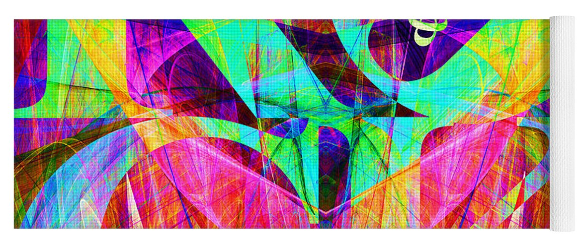 Abstract Yoga Mat featuring the digital art Rock And Roll 20130708 Fractal by Wingsdomain Art and Photography