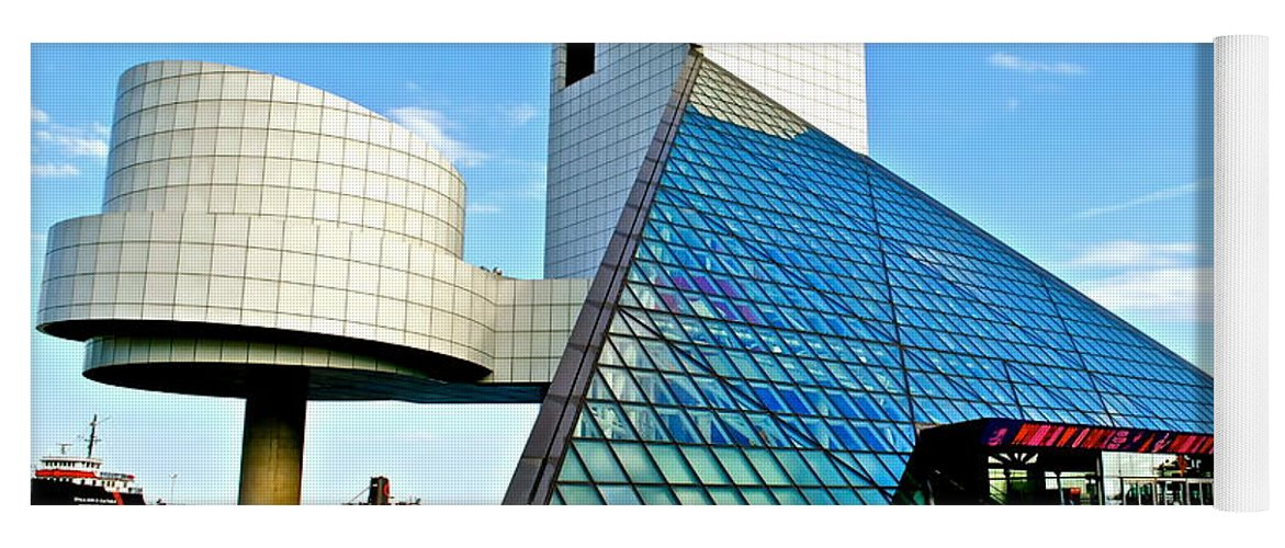 Rock Yoga Mat featuring the photograph Rock n Roll Hall of Fame by Frozen in Time Fine Art Photography