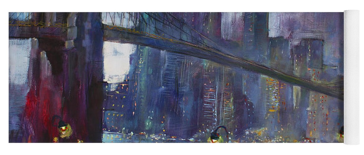 Brooklyn Bridge Yoga Mat featuring the painting Romance By East River Nyc by Ylli Haruni