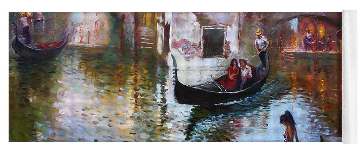 Romance Yoga Mat featuring the painting Romance In Venice 2013 by Ylli Haruni