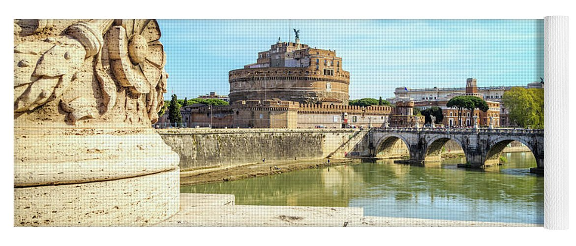 Photography Yoga Mat featuring the photograph Rome, Italy. Castel Santangelo by Panoramic Images