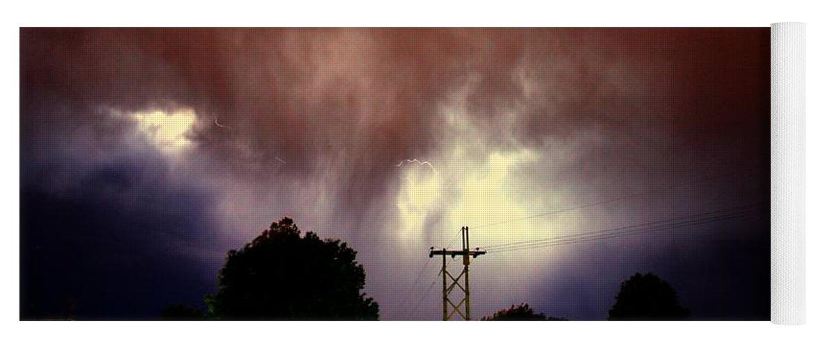 Stormscape Yoga Mat featuring the photograph Rounds 2 3 Late Night Nebraska Storms by NebraskaSC