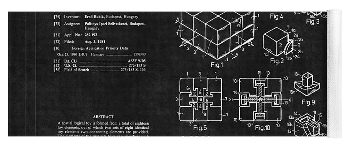 Rubik's Cube Patent 2 Yoga Mat for Sale by Andrew Fare