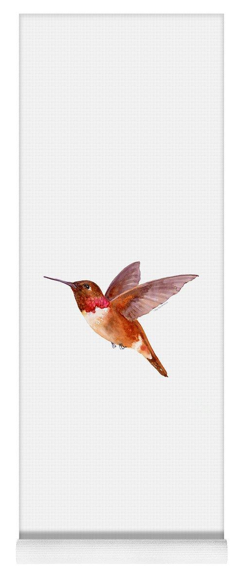 Bird Yoga Mat featuring the painting Rufous Hummingbird by Amy Kirkpatrick
