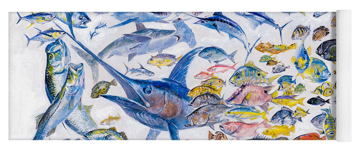 Gamefish Yoga Mat featuring the painting Russ Smiley Gamefish Collage by Carey Chen