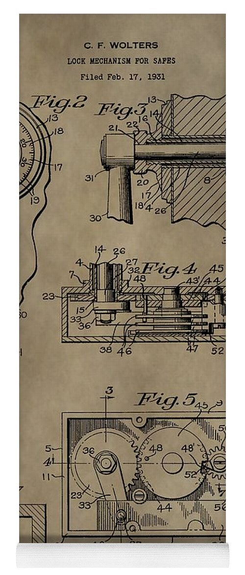 safe lock patent yoga mat featuring the mixed media safe lock patent by dan  sproul