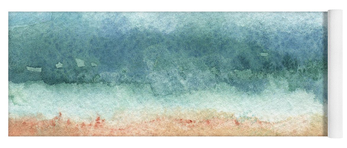 Abstract Yoga Mat featuring the painting Sand and Sea by Linda Woods