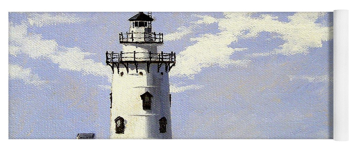 Christine Hopkins Yoga Mat featuring the painting Saybrook Breakwater Lighthouse Old Saybrook Connecticut by Christine Hopkins