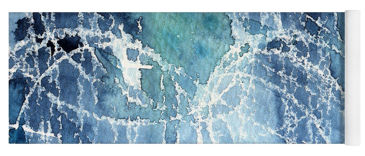 Abstract Painting Yoga Mat featuring the painting Sea Spray by Linda Woods