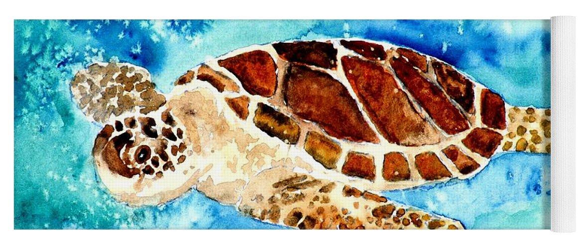 Sea Turtle Yoga Mat featuring the painting Sea Turtle by Derek Mccrea