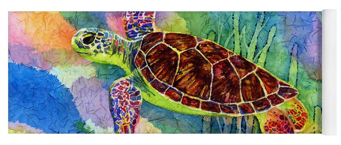 Turtle Yoga Mat featuring the painting Sea Turtle by Hailey E Herrera