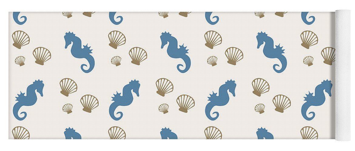Seahorse Yoga Mat featuring the mixed media Seahorse And Shells Pattern by Christina Rollo