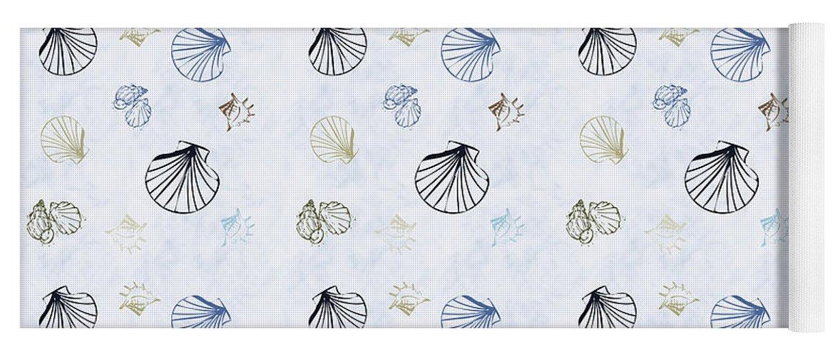 Seashell Yoga Mat featuring the mixed media Seashell Pattern by Christina Rollo
