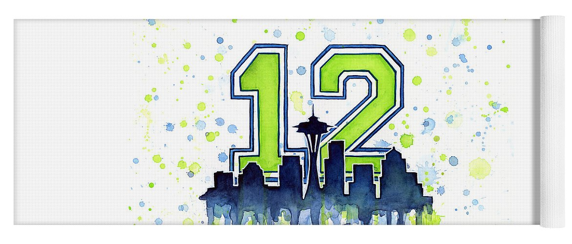 Seattle Yoga Mat featuring the painting Seattle Seahawks 12th Man Art by Olga Shvartsur