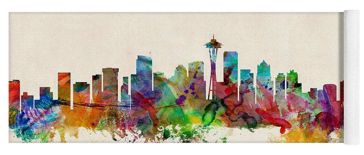 Seattle Washington Skyline Yoga Mat For Sale By Michael Tompsett