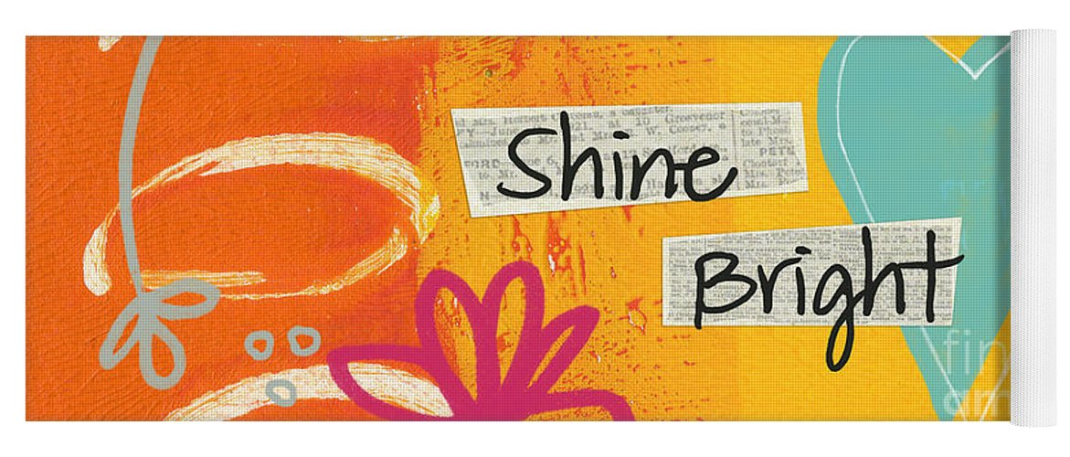 Heart Yoga Mat featuring the painting Shine Bright by Linda Woods