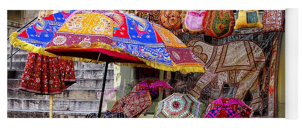 fb711277dc4c Shopping Yoga Mat featuring the photograph Shopping Colorful Bags Sale  Jaipur Rajasthan India by Sue Jacobi
